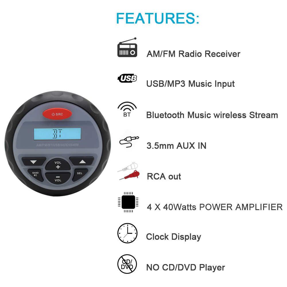 防水マリンステレオ Bluetooth ラジオオートバイボートオーディオ USB MP3 サウンドシステム FM Am 受信機 RZR ATV UTV のための RV DC 12V
