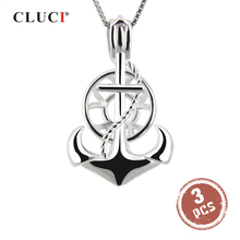 CLUCI 3pcs Silver 925 Anchor Shaped Pendant for Women Jewelry