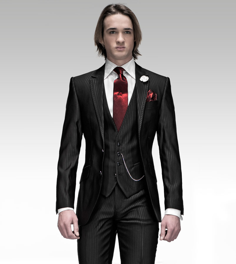 Slim Fit Groom Tuxedo Black Groomsmen Notch Lapel Wedding/Dinner Suits Best Man Bridegroom (Jacket+Pants+Tie+Vest)B423