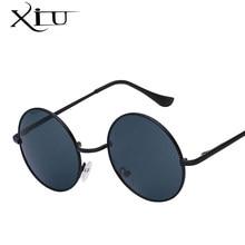 86455e0227d73 XIU Das Mulheres Dos Homens de óculos de Sol Óculos Redondos Steampunk de  Metal Marca Designer Óculos De Sol UV400