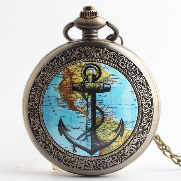 Fashion Bronze Silver Map Of Americas And Anchors Quartz Pocket Watch Analog Pendant Necklace Mens Womens Watches Gift PB88