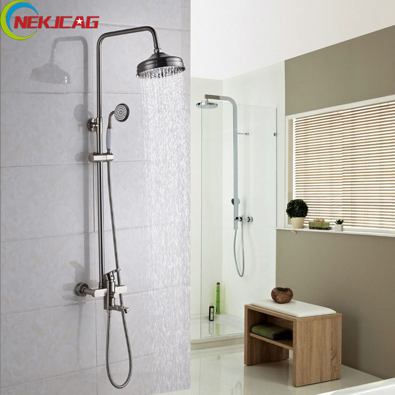 Classical Style Brass Shower Faucet Bathroom Rain Shower Faucet Set Wall Mounted Tub Shower Mixer Tap vintage retro antique brass wall mounted bathroom handheld shower faucet set bath tub mixer tap crs019
