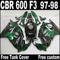 Alta calidad de la motocicleta para HONDA CBR 600 F3 1997 1998 carenados CBR600 F3 97 98 verde negro carenado kit T6