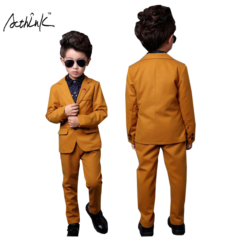 ActhInK New Kids 2Pcs Yellow Formal Wedding Suit for Boys Children Autumn Solid Blazer Suit Boys Formal Wedding Costume, ZC085 acthink new kids 3pcs vest pant blazer solid suit for boys formal party dress suit with breastpin flower boys wedding suit mc023