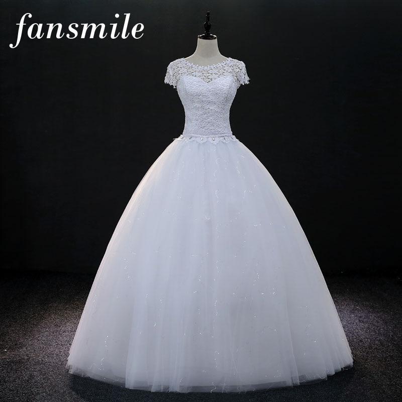 0790cf00c0 Fansmile krótkim rękawem Vintage Lace Up suknie balowe i ślubne 2019 Vestidos  de Novia Plus Size sukienka dla nowożeńców suknia ślubna Real Photo