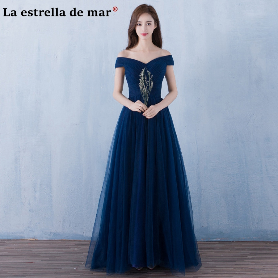 Vestido De Madrinha Marsala New Sexy Neck Off The Shoulder Cap Sleeve A Line Navy Blue Burgundy Blush Pinkbridesmaids Dress Long