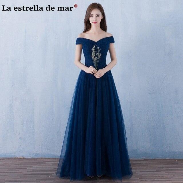 Vestido madrinha2018 sexy Boat Neck short sleeve Tulle navy blue burgundy  pink bridesmaid dresses long wedding 4756f1b4fe89