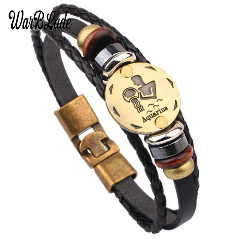 WarBLade 12 Constellations Bracelet Fashion Jewelry Leather Bracelets Bangles Men Women Personality Zodiac Signs Punk Wristband