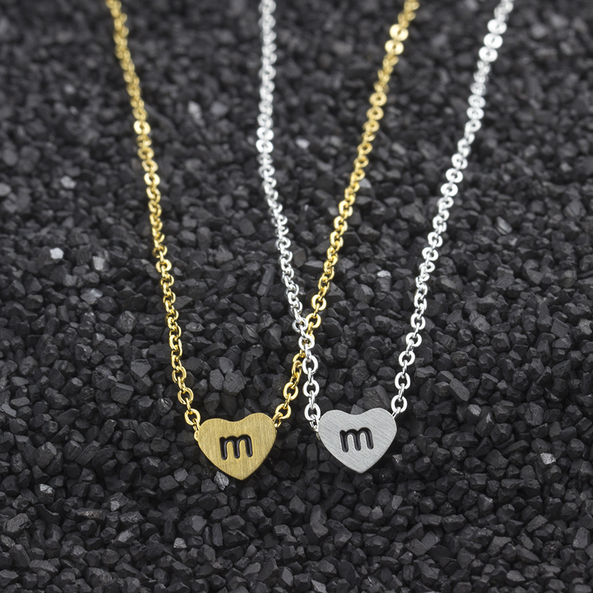 ACEBFEET 10Pcs/lot m n o p q r Letter Charm Necklacl Tiny Letter Heart Gold Silver Color Pendant Necklace For Women Jewelry ...