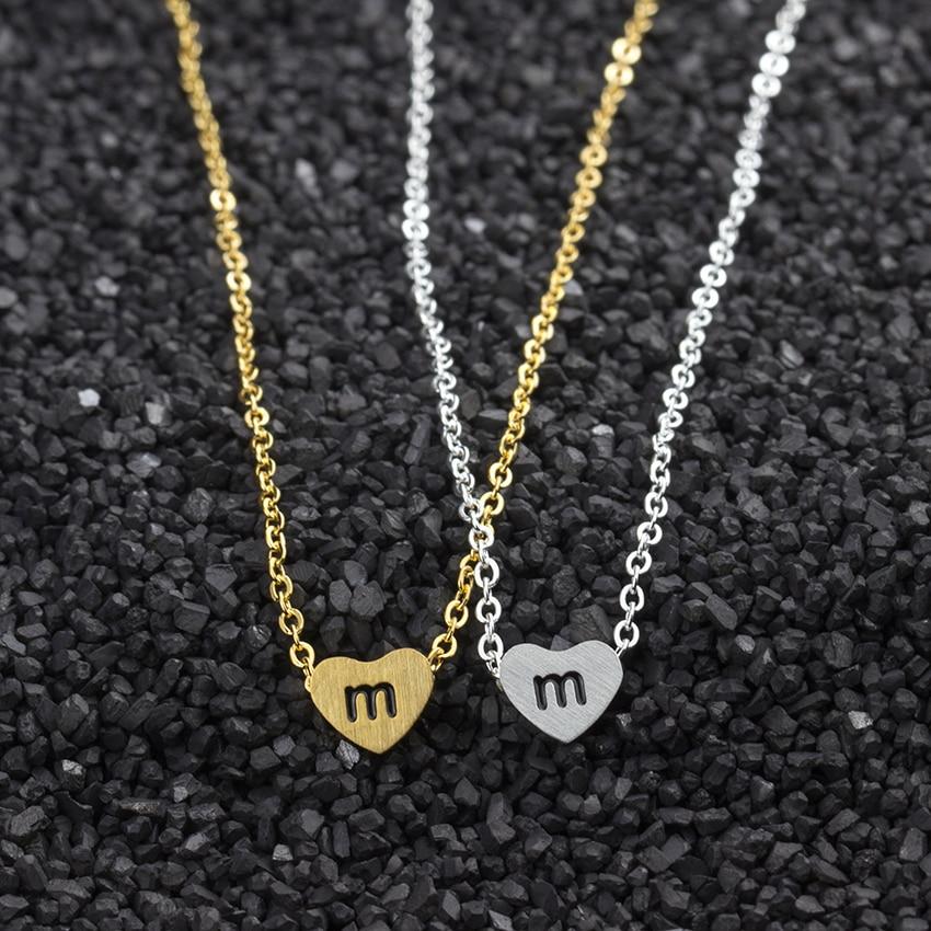 GORGEOUS TALE 10Pcs/lot M N O P Q R Letter Charm Necklacl Tiny Letter Heart  Gold Silver Color Pendant