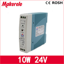 Mdr-10-24 10W 0.42a 24v Mini Size Din Rail power supply ac dc switching Power Supply with Ce Approv for led driver