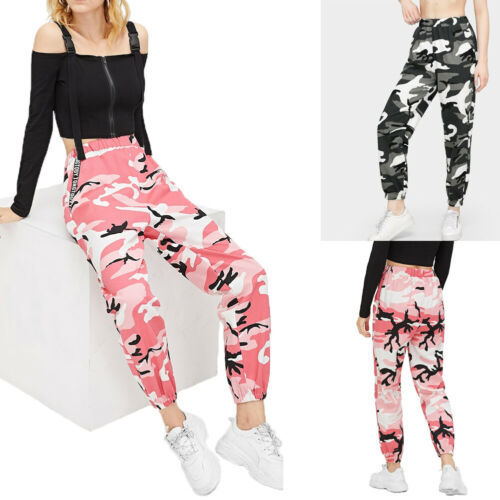 New Women's Camouflage Pants Cargo Military Hight Waist Loose Long Pants Trousers Casual Street Hip Hop