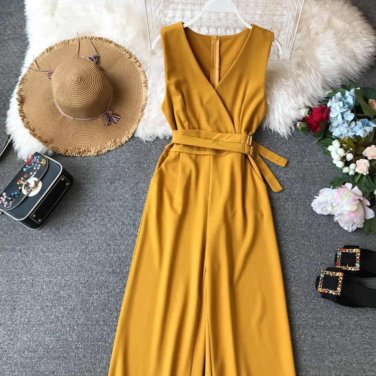 ALPHALMODA 2019 Spring Ladies Sleeveless Solid Jumpsuits V-neck High Waist Sashes Women Casual Wide Leg Rompers 57