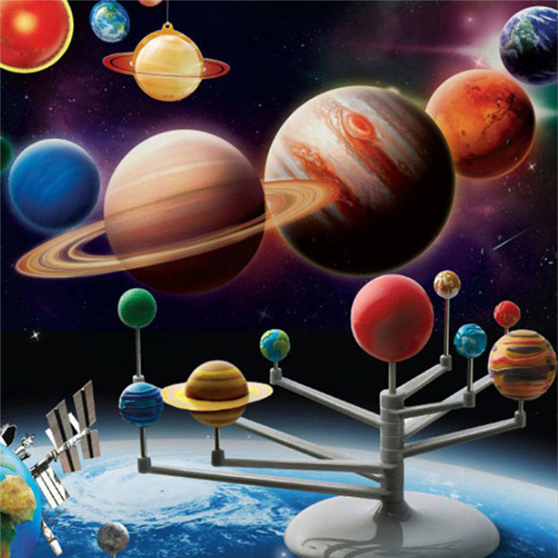 1pcs Creative Solar System Model 9 Planets Kit Mini Crafts Astronomy Painting Model Science Planetarium Educational DIY Toys Set