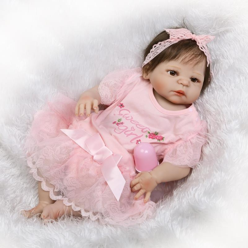 Pursue 22/57 cm Pink Dress Newborn Bathe Girl Full Body Silicone Reborn Baby Girl Doll House Play Toys Christmas Birthday Gift pursue 22 55 cm cloth body silicone reborn baby doll toys play house newborn boy girl baby doll birthday gift christmas present