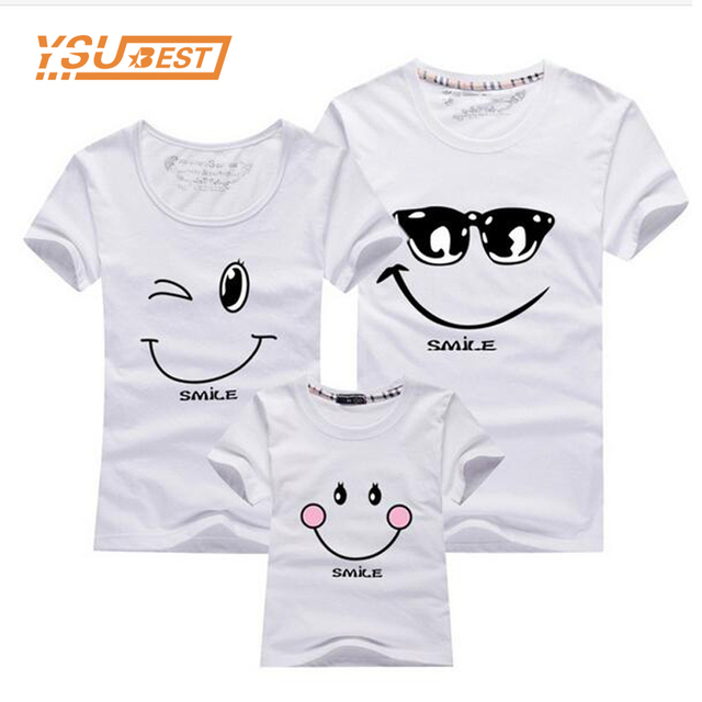 4dba1179b Matching Clothes Fashion Family Outfit Set New 2019 Cotton Family Matching T  Shirt Smiling Face Shirt Short Sleeves Tees Tops
