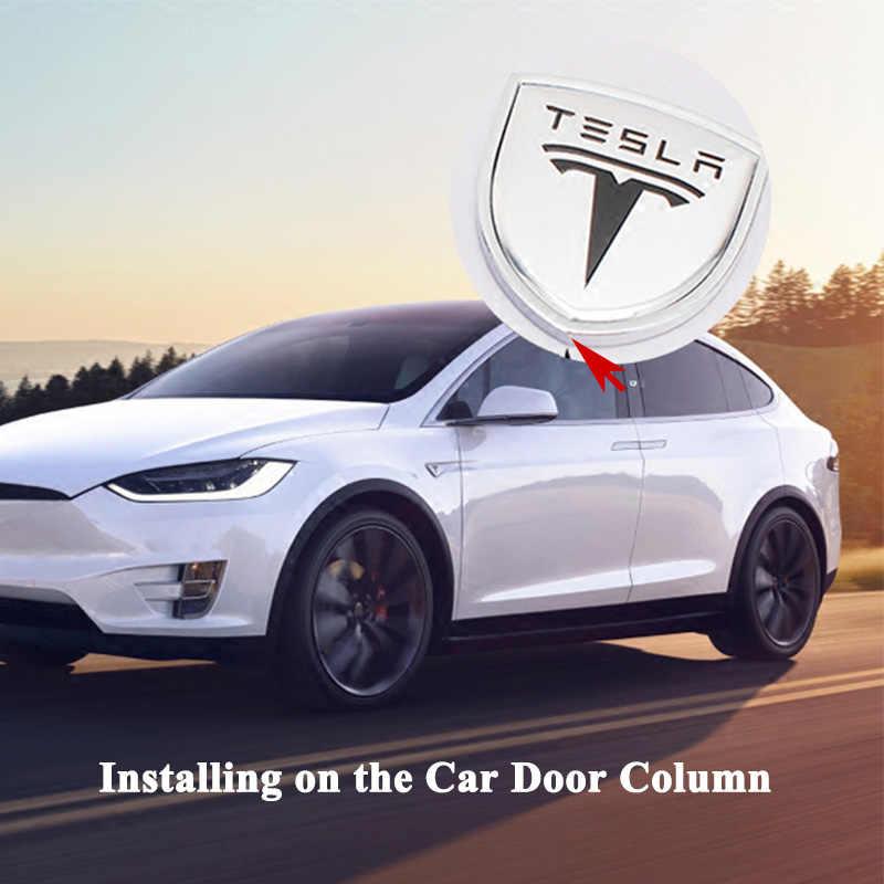 2pcsset Car Logo Emblem Door Column Pillar Decoration Quarter Window Sticker Styling Accessories For Tesla Model S Model X 3