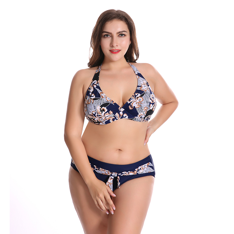 2018 Newest Plus Size Bikini Set Push Up Print High Waist Big Chest Women Swimwear 6XL Sexy Swimsuit Maillot De Bain Femme plus leaf print button up pajama set