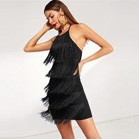 Vestido corto negro flecos halter sin mangas otoño 1