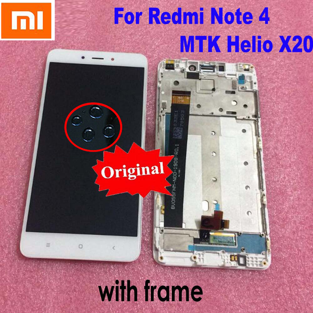 Original 10 Point Touch Screen Digitizer Sensor LCD Display Assembly + Frame For Xiaomi Redmi Note 4 Note4 Note 4x MTK Helio X20