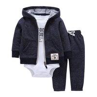 Комплект одежды для маленьких мальчиков и девочек, хлопковая куртка с капюшоном и длинными рукавами + штаны + комбинезоны для новорожденных,...