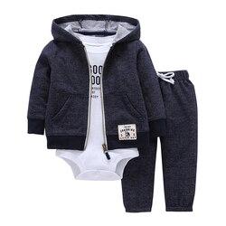 Комплект одежды для маленьких мальчиков и девочек, хлопковая куртка с капюшоном и длинными рукавами + штаны + комбинезон, Одежда для новорож...