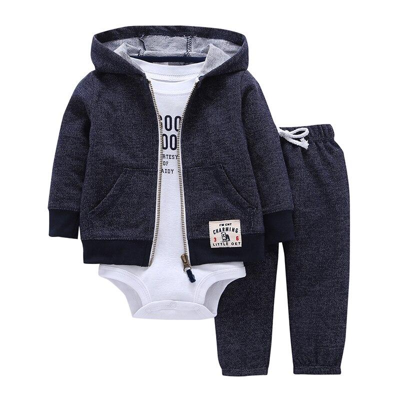 תינוק ילד ילדה בגדי סט כותנה ארוך שרוול סלעית מעיל + מכנסיים + rompers 3 pieces תינוקות פעוט תלבושות יוניסקס יילוד בגדים