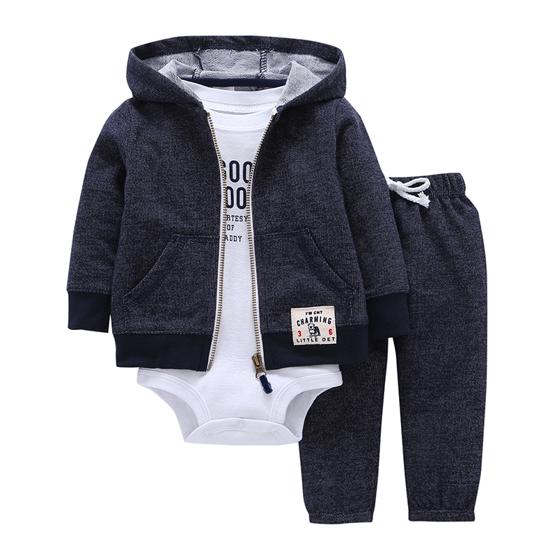 BABY BOY GIRL CLOTHES SET cotton long sleeve hooded jacket pant rompers 3 pieces infant toddler