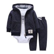 Комплект одежды для маленьких мальчиков и девочек, хлопковая куртка с капюшоном и длинными рукавами + штаны + комбинезон, комплект из 3 предметов, одежда для малышей, одежда унисекс для новорожденных