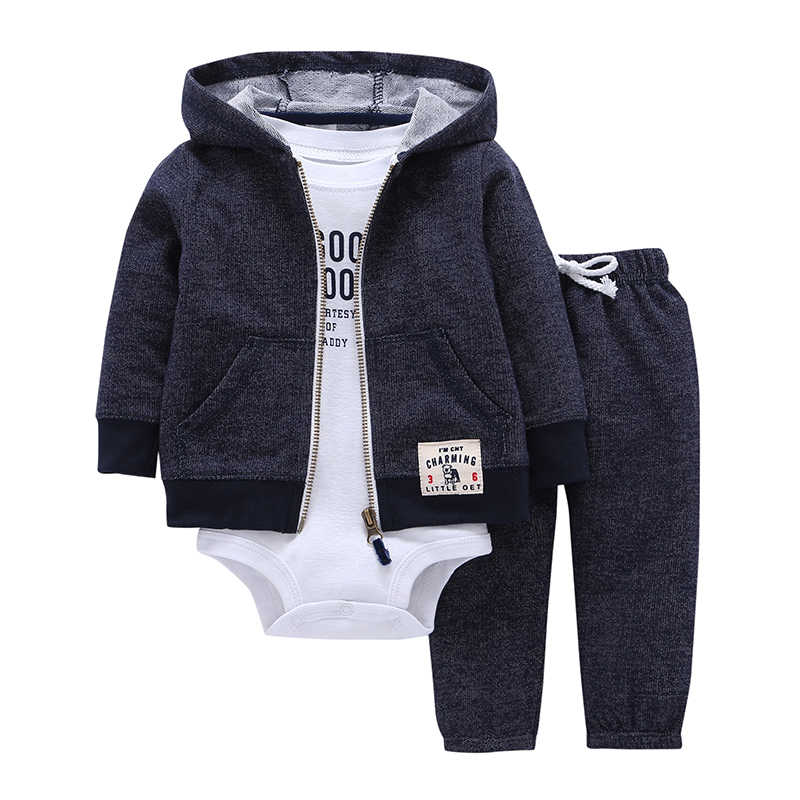 cd5a491cf326 BABY BOY GIRL CLOTHES SET cotton long sleeve hooded jacket+pant+rompers new  born