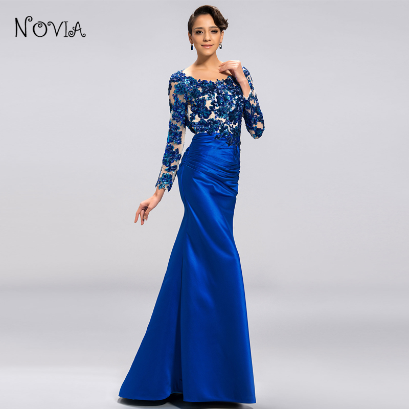 Fashion Y Long Evening Dresses With Mermaid O Neck Sleeve Liques Lace Women Dinner Dress For Formal Party Vestidos In From