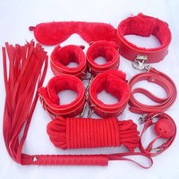 High-quality leather plush erotic toys,adult sex toys Products for adults handcuffs for sex fetish bondage,nipple clamps collars