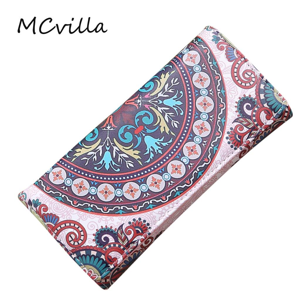 2018 Fashion Flower Pattern Wallets Women Wallet Soft PU Leather Women's Hasp Long Coin Purse Card Holder Phone Bag Handbag