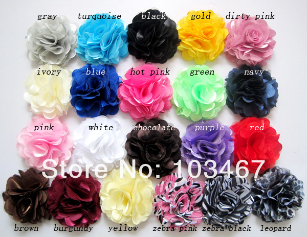 30pcs/lot Lowest Price -21 colors 3'' Satin Mesh Flowers Without Hair Clip Wholesale