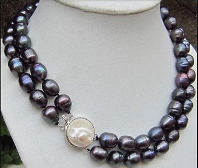 """ENVÍO GRATIS>>>>>>>> Caliente venta nuevo Estilo 2 S Raro encanto 11-13mm tahitian negro barroco de la perla collar de 18"""""""