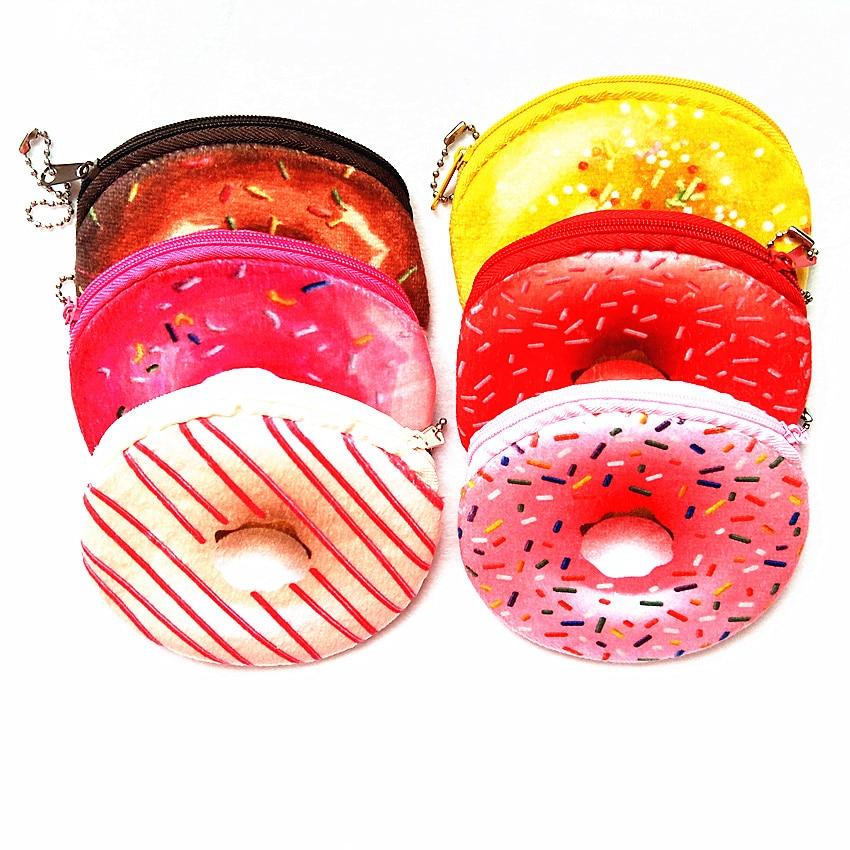 M121 Cute Cartoon Creative Coin Purse Donut Series A Variety Of Colors Wallet Card Bag Girl Women Student Gift Wholesale m060 cute cartoon women purses pets akita dog siberian husky personality plush coin purse wallet women student gift wholesale