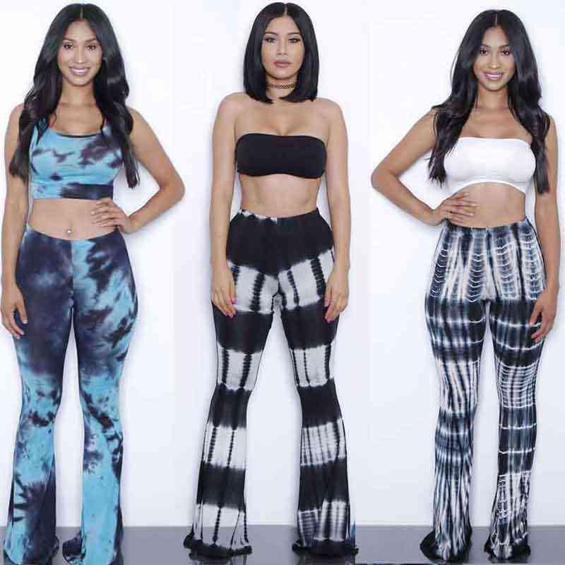 e182305ec473 Summer Bodysuits Flare pants set jumpsuits 2 Pieces Suits tie dye gradient  print rompers womens jumpsuit