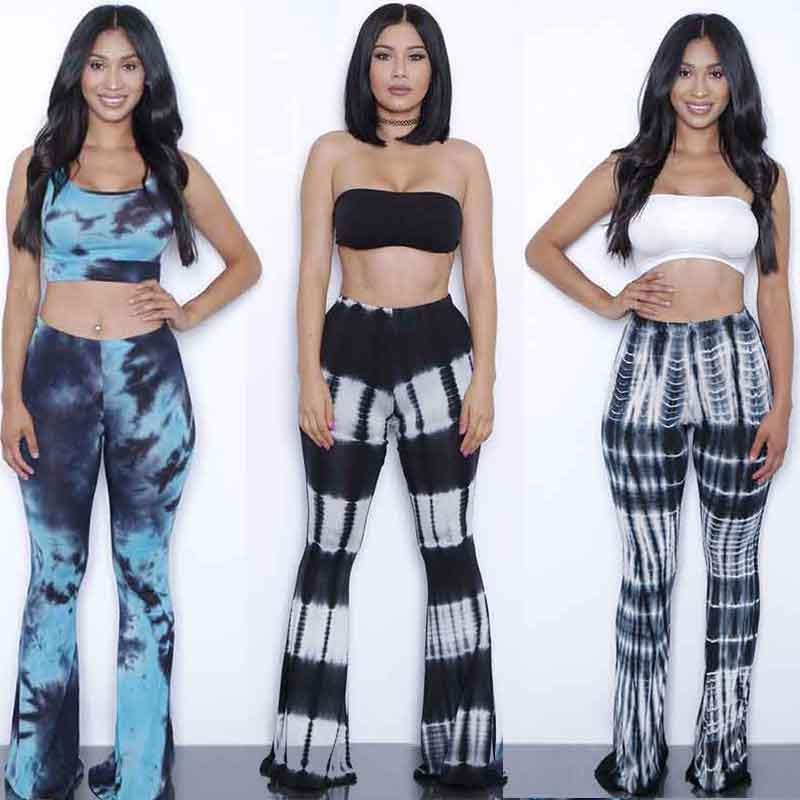8f73daf89c2 Online Shop Summer Bodysuits Flare pants set jumpsuits 2 Pieces Suits tie  dye gradient print rompers womens jumpsuit Outfits With Bra pad