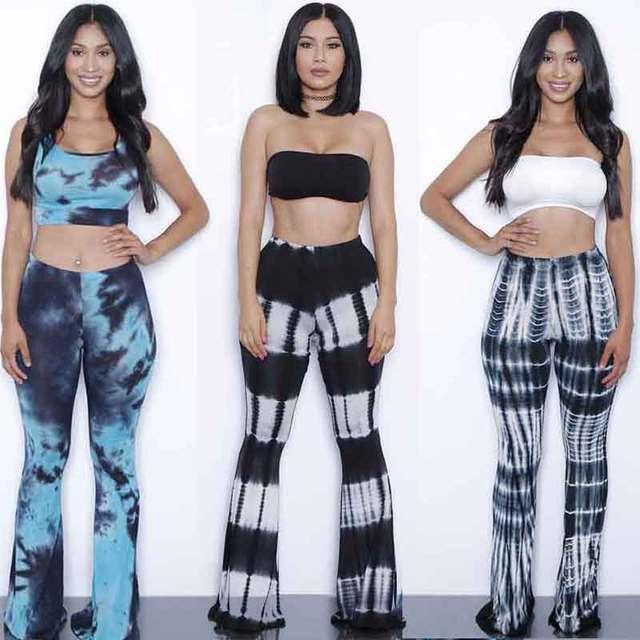 af04d814e2bb Summer Bodysuits Flare pants set jumpsuits 2 Pieces Suits tie dye gradient  print rompers womens jumpsuit Outfits With Bra pad