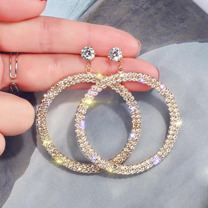 New Arrival Metal Hyperbole Round Women Dangle Earrings Fashion Female Korean Simple Jewelry Circle Earrings