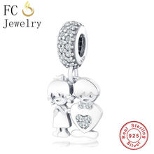 FC Jewelry Fit Original Pandora Charm Bracelet 925 Sterling Silver Brother Sister Boy Girl Heart Bead Pendant Making Berloque(China)