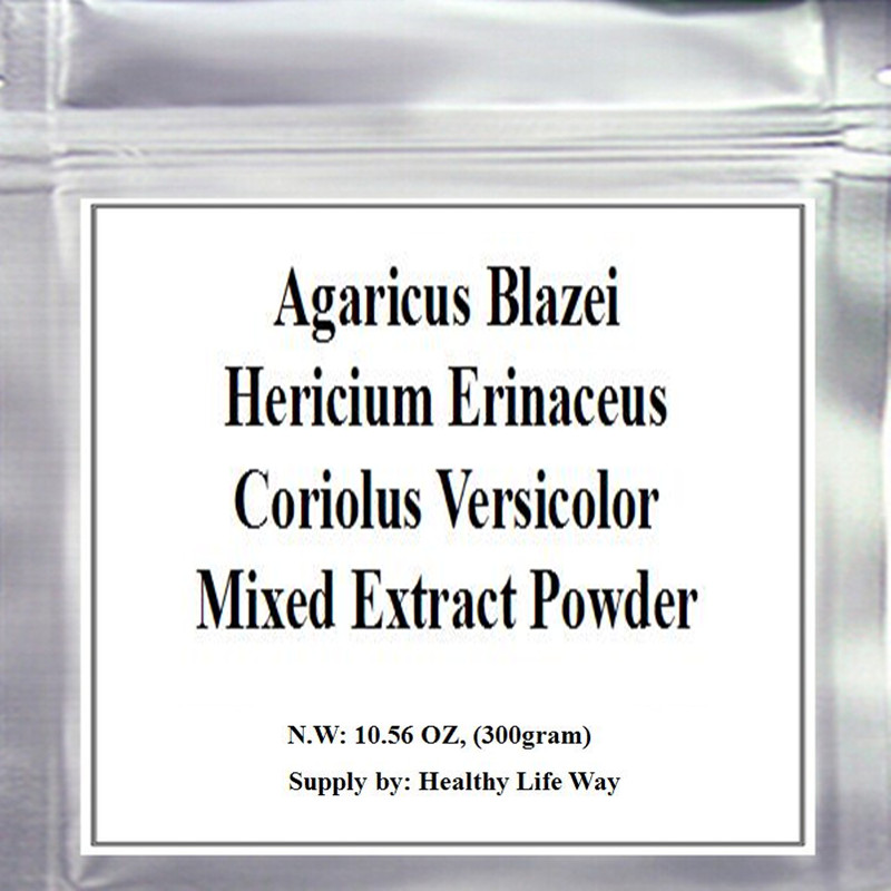 10.6oz (300g) Mushroom Mixed of (Agaricus Blazei +Hericium Erinaceus+Coriolus Versicolor ) Extract Powder, top quality top quality natural fig fruit extract powder 1kg