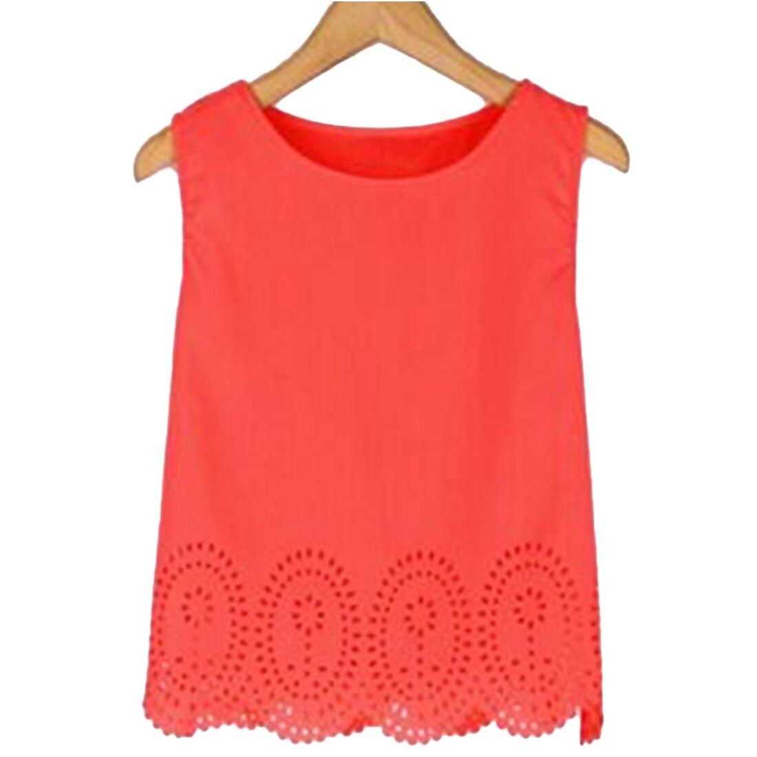 Dames Sweet Casual Korte blouse Mouwloos O Hals Topkwaliteit Zomer - Dameskleding