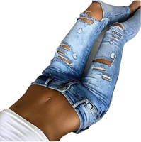 Ventas calientes Nuevo 2017 Mujeres de La Manera Flacos Denim Jeans Rotos Lápiz Pantalones Vaqueros Largos de Las Señoras Atractivas