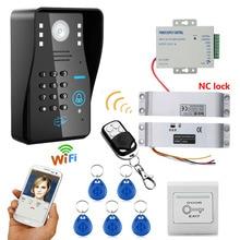 ENNIO Wireless WIFI RFID Fingerprint Recognition Video Door Phone video intercom System + Electric Magnetic Door Lock 18KG