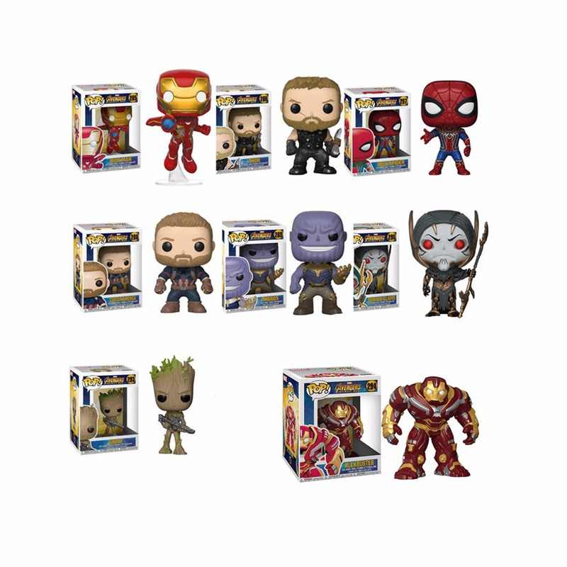 FUNKO POP The Avengers 3: Infinity War THANOS IRON SPIDER HULKBUSTER Grootted PVC action Figures model for Children gift