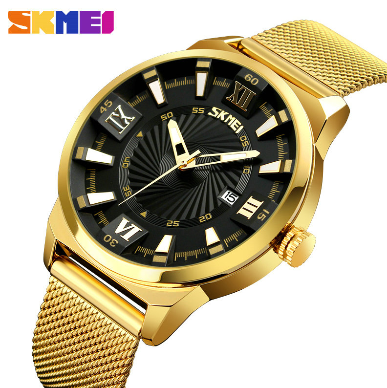 SKMEI Quartz Watch Men Top Brand Luxury Golden Analog Clock Calendar Mesh Strap Super Case 3D Index Black Dial Fashion relogio