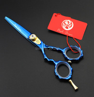 JP440C Professional 5 5Inch Left Hand Cutting Scissors Bule Human Hair Shears With Bamboo Handle For