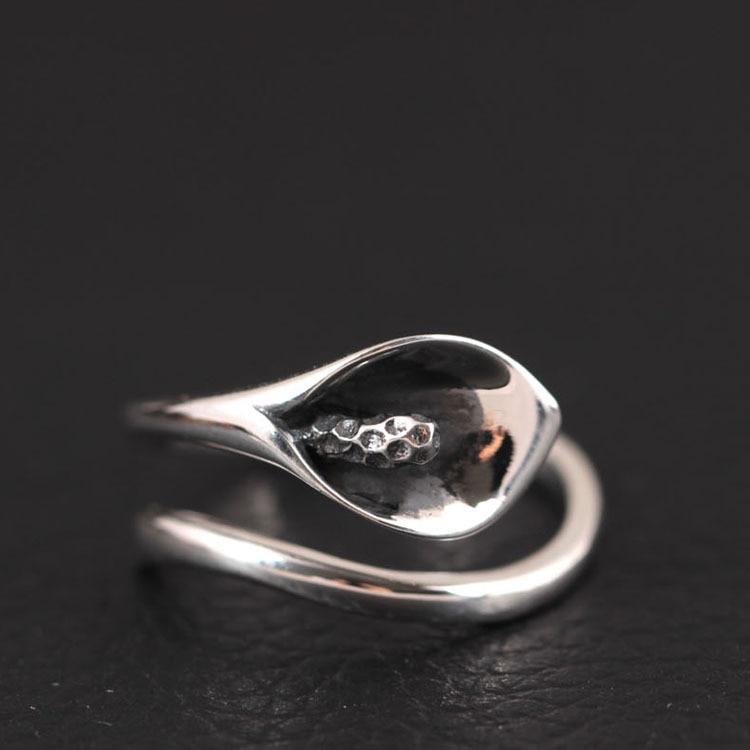 925 joyería de plata esterlina Calla Lily flores anillos abiertos para las mujeres de alta calidad de estilo vintage accesorios de regalo de señora Bague Femme