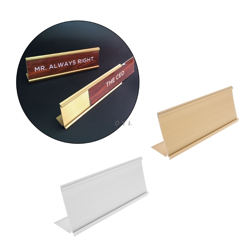 Golden Silver Sign Aluminum Alloy Name Desk Plaque Holder Office School 9x24cm
